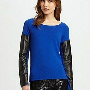 AIKO cashmere + leather KWAN pullover sweater L